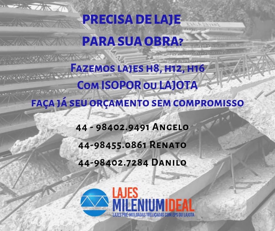 Lajes Milenium Ideal: Lajes Umuarama e Região com qualidade e responsabilidade técnica.